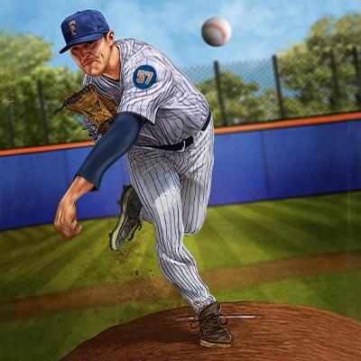 Titan baseball pitcher throwing a pitch