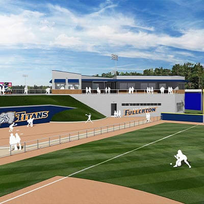 architectural rendering of proposed new softball stadium