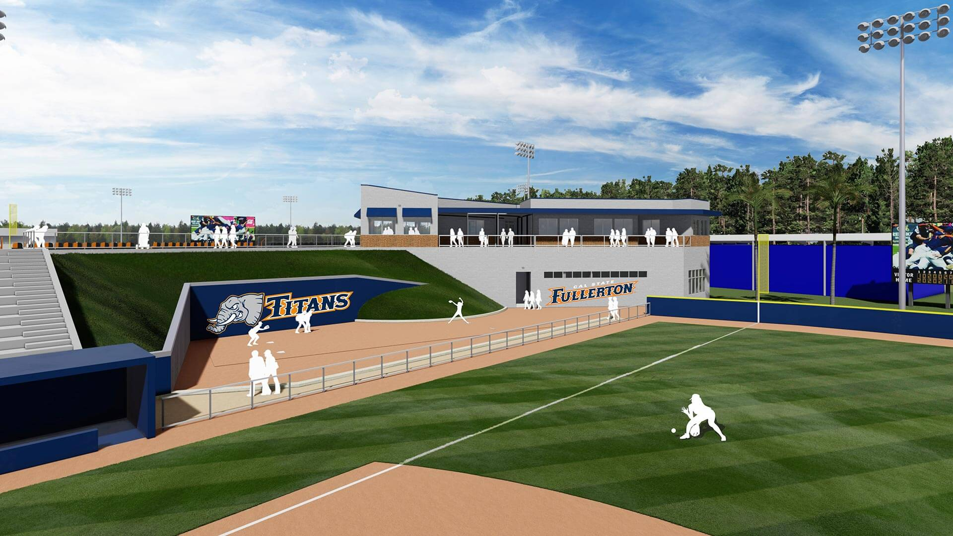 renovated softball clubhouse rendering
